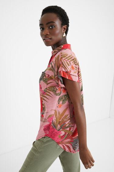 Tencel-Bluse mit tropischen Blumen | Desigual