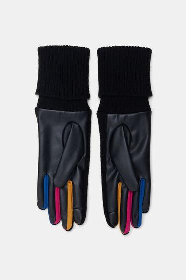 Mix coloured PU- tricot gloves   Desigual