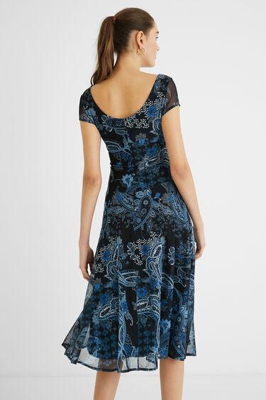 Lange wijd uitlopende bedrukte jurk | Desigual