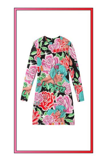 Short elastic floral dress | Desigual