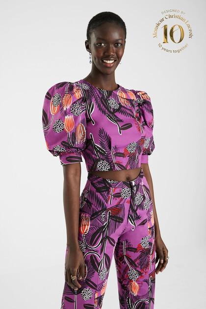 Short blouse back zipper