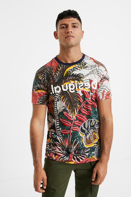 Floral T-shirt edged collar