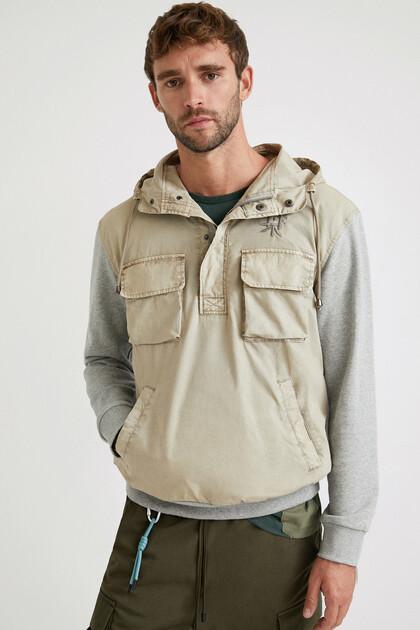 Hooded hybrid sweatshirt