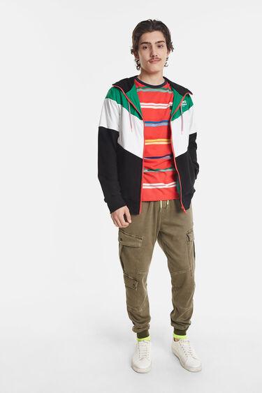 Casaco estilo sweatshirt tricolor | Desigual