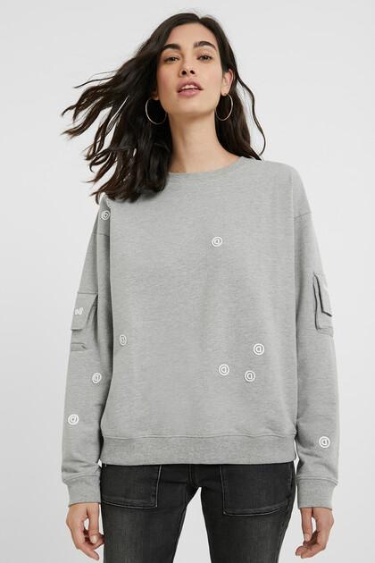 Sweatshirt met zakken op de mouwen
