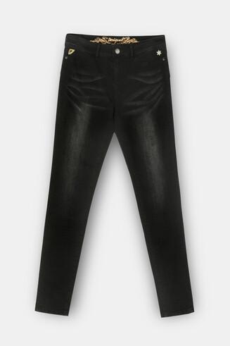 Spodnie jeansowe rurki z motywem kwiatka