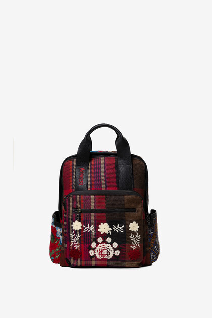 Tartan embroidered backpack