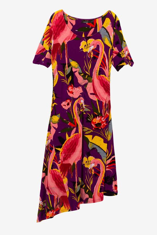 Asymmetric Dress with Flamingos Grace | Desigual