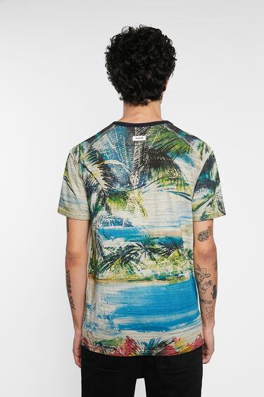 Tropical T-shirt mandarin collar buttons | Desigual
