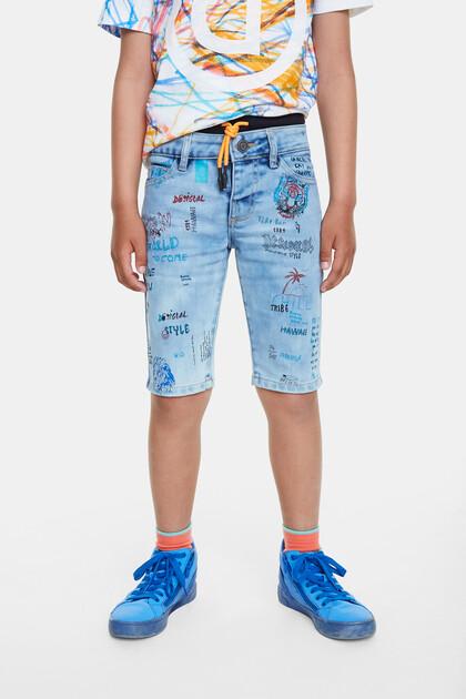 Double waistband jean bermudas