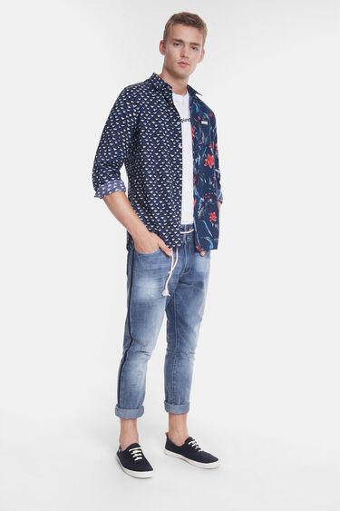 Organic shirt with half-orange print | Desigual