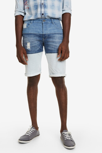 Tri-colour Denim Bermuda Shorts Masali