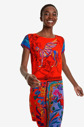 Red dress with patchwork Koda