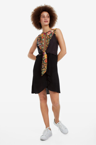 Black dress with floral body Vilma
