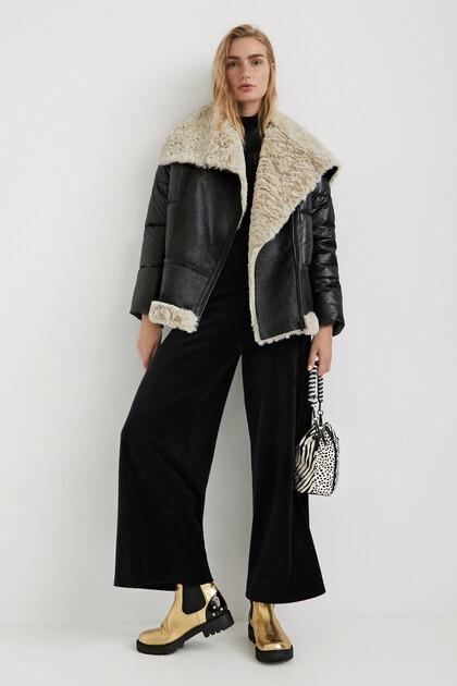 Oversize padded biker jacket fleece