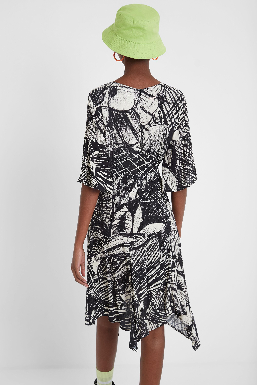 Desigual Vestido arty Black & White WHITE 46 GLAMI.es
