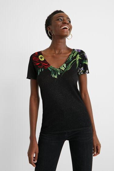 Dopasowana koszulka z nadrukiem w kwiaty | Desigual