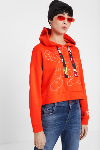 Short sweatshirt embroidered Mickey Mouse