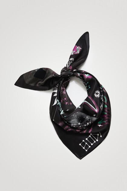 Square foulard cosmic print