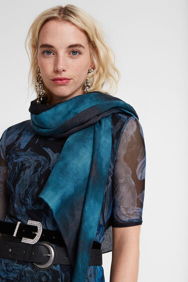 Blue rectangular foulard | Desigual