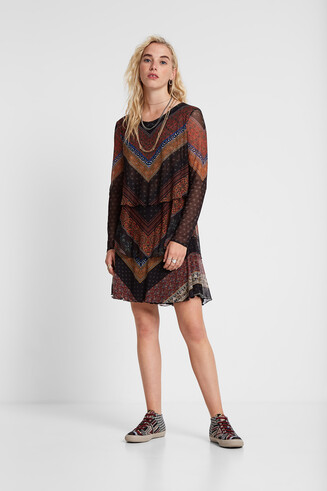 Ruffled flared frieze pattern dress