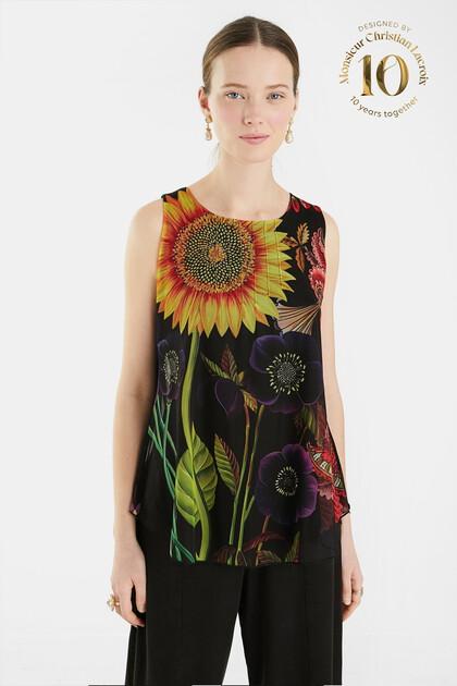 T-shirt sans manches fleuri