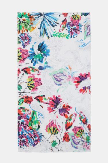 Foulard rectangular floral lúrex | Desigual