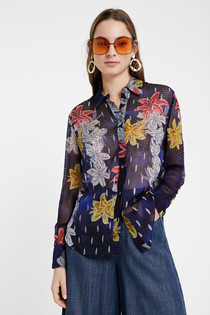 Floral shirt with sheer fabric and rhinestones
