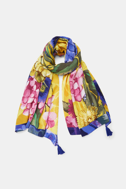 Rectangular foulard flowers