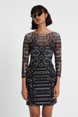 Geometric print fitted dress Designed by M. Christian Lacroix