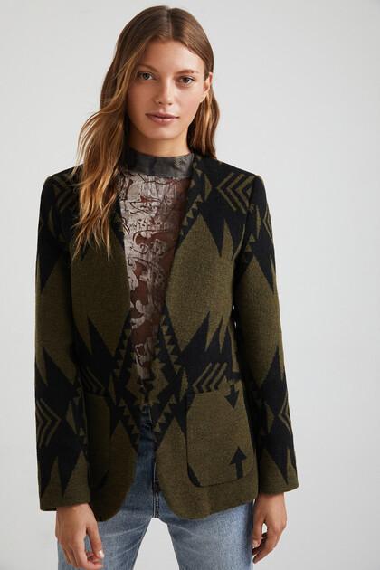 Slim wool print blazer