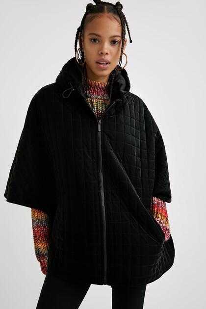 Padded poncho hood