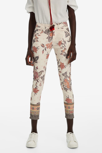 Floral print ankle-grazer trousers