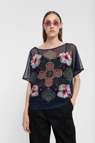 T-shirt fleurs manches longues