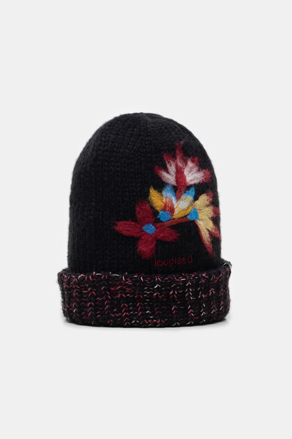 Knit cap with turn-up brim