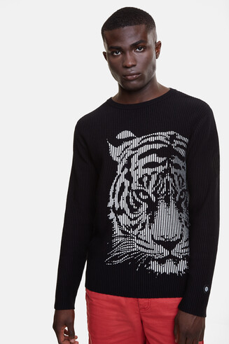 Ribbed jumper with tiger print