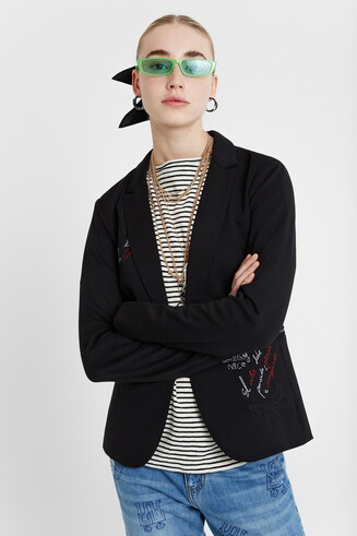 Blazer mit Messages Slim Cut
