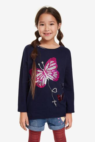 Shirt mit Pailletten-Schmetterlingen