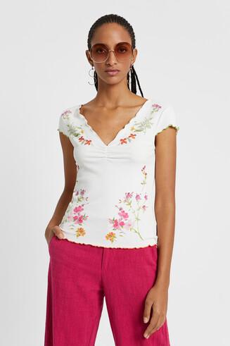 Camiseta floral de canalé