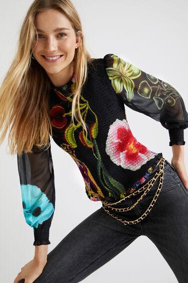 Loose blouse floral sleeves | Desigual