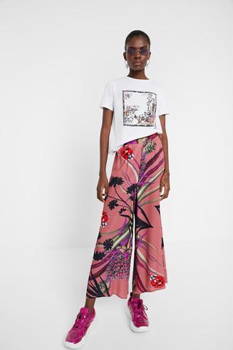 Spodnie typu culotte w stylu tropikalnym