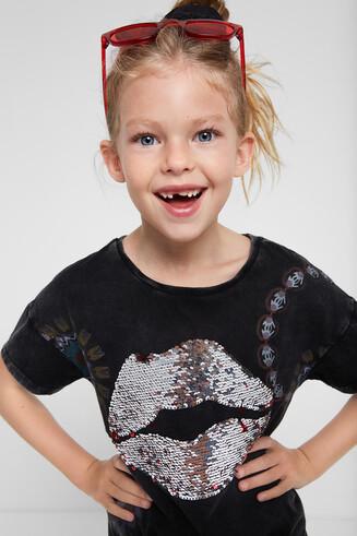 Shirt mit Kussmund aus Pailletten
