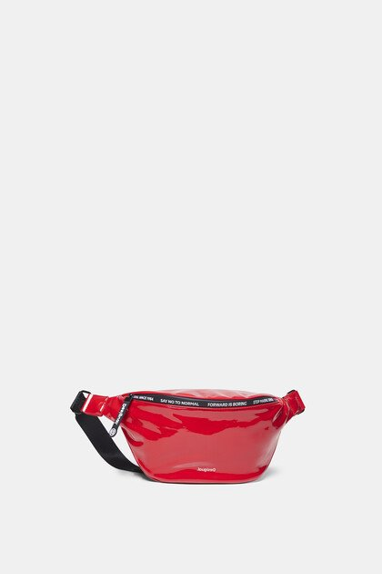 Patent leather bum bag messages