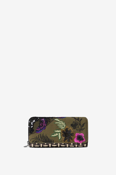 Coin wallet patch with raffia and floral | Desigual