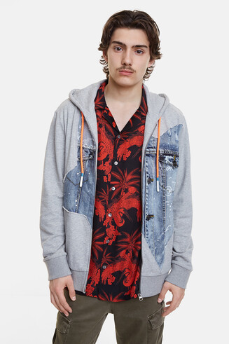 Sweatshirt plush denim patch