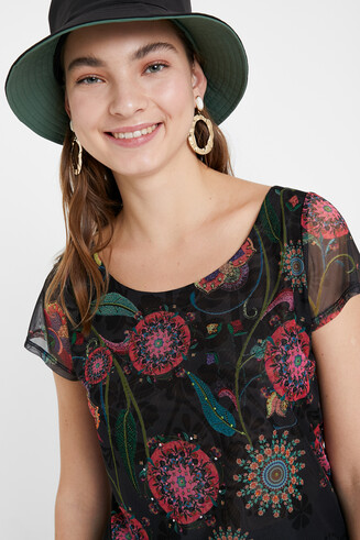 T-shirt floral multicouches