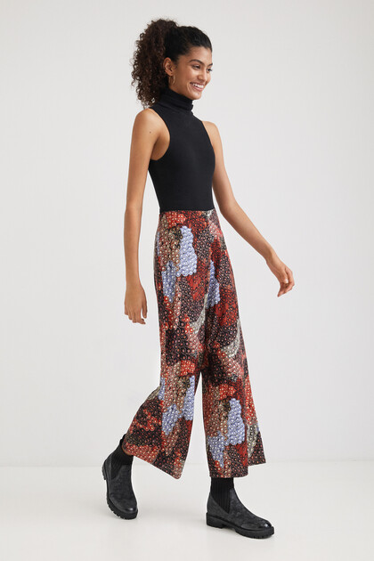 Wide print trousers
