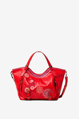 Double handle embroidered bag