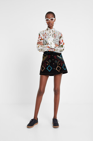 Viscose and silk blouse with neck tie Designed by M. Christian Lacroix
