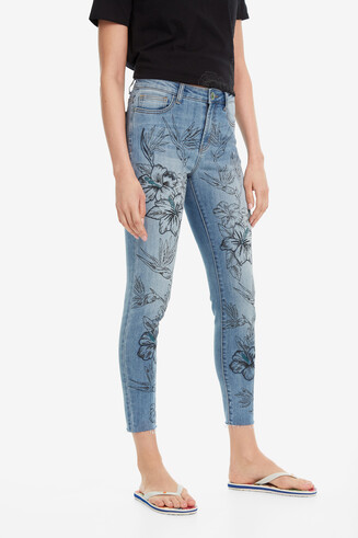 Floral Jeans Hibiscus